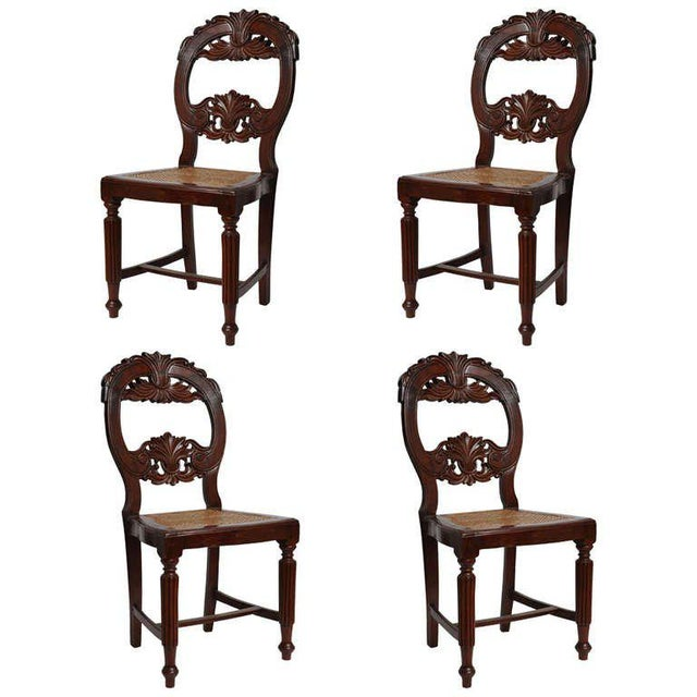 Set of Four Rare 19th Century Portuguese Goa Rosewood Dining Chairs For Sale - Image 10 of 10