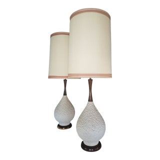 Mid-Century White Textured Ceramic and Wood Lamps - a Pair For Sale