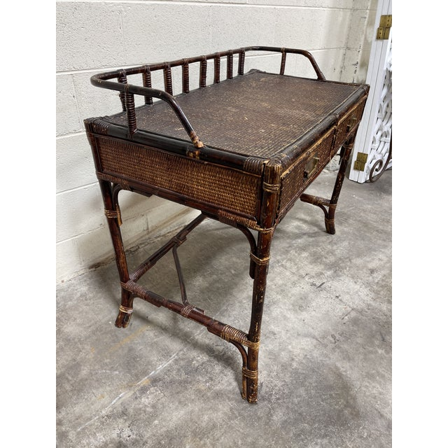 English Vintage Bamboo Writing Desk For Sale - Image 3 of 12