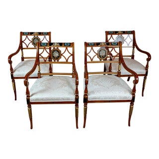 1990s Vintage Baker Painted Regency Arm Chairs -Set of 4 For Sale