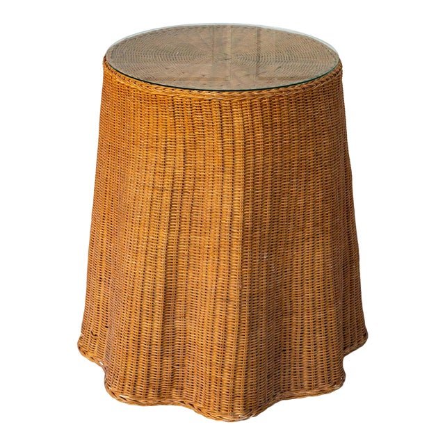 1970s Boho Chic Trompe l'Oeil Rattan Draped Wicker Ghost Entryway Table For Sale