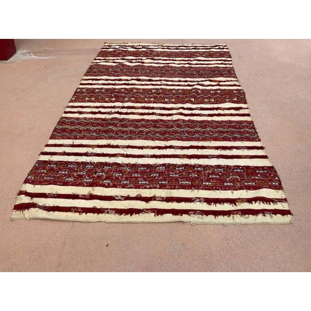 Moroccan Vintage Tribal Kilim Handira Rug, circa 1960 For Sale - Image 12 of 13