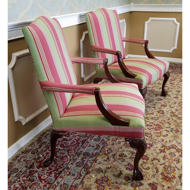 Martha Washington Mahogany Chippendale Style Southwood Furniture Gainsborough Armchairs - A Pair For Sale In New York - Image 6 of 10
