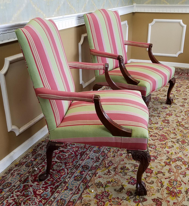 Merveilleux Martha Washington Mahogany Chippendale Style Southwood Furniture  Gainsborough Armchairs   A Pair   Image 6 Of