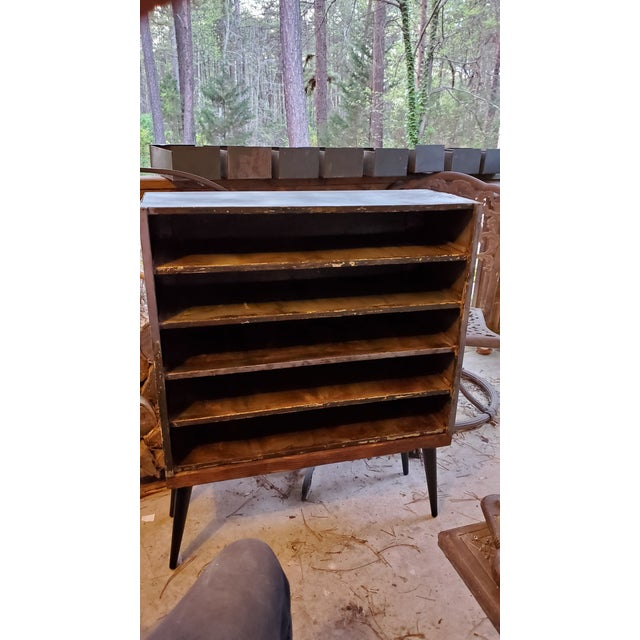 Mid Century Metal Card Catalog Upcycled Hall Table For Sale - Image 11 of 12