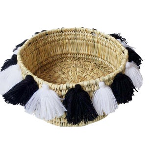 Moroccan Black and WhiteTassel Small Basket For Sale