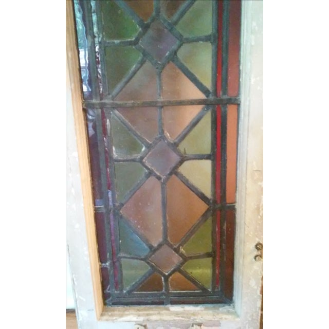Antique Vintage Art Deco Stained Glass Window - Image 3 of 8