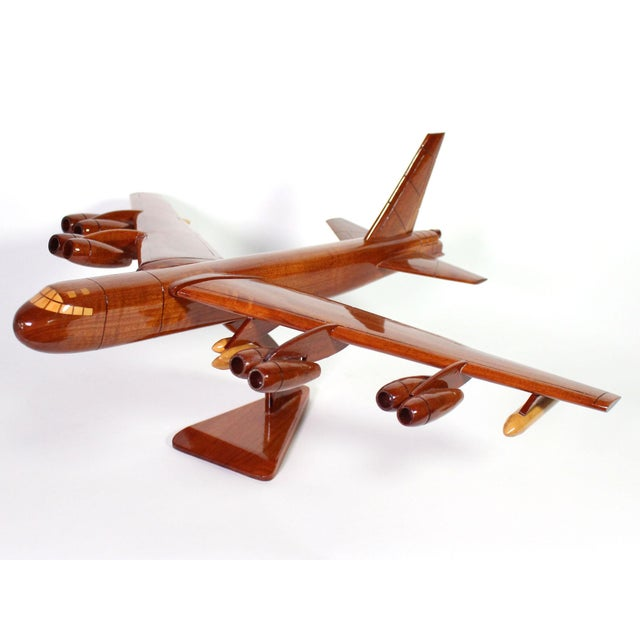 Mid-Century Modern 1970s Mid-Century Hand Carved Wood Replica B-52 Jet Plane For Sale - Image 3 of 8