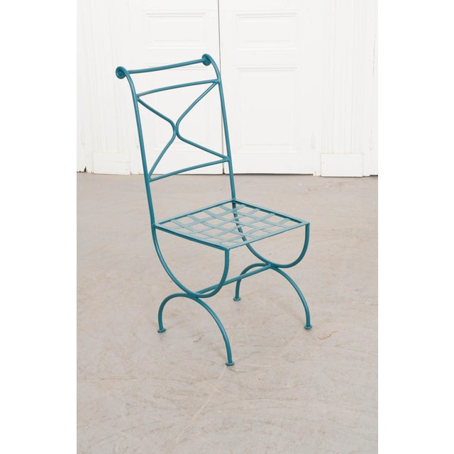 Suite of Eight Early 20th-Century Neoclassical-Style Painted Wrought-Iron Side Chairs For Sale - Image 11 of 13