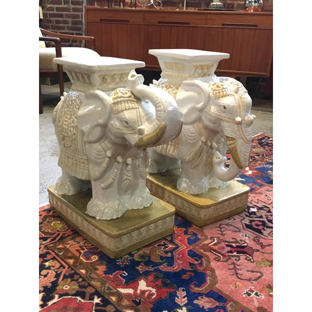 Porcelain Elephant Garden Stools - A Pair - Image 3 of 7