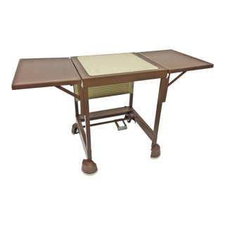Vintage Industrial Beige Typewriter Table With Double Drop Leaves For Sale