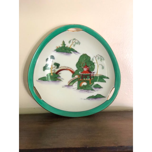 Ceramic Midcentury Pair of Chinoiserie Noritake Triangular Plates With Handles For Sale - Image 7 of 13