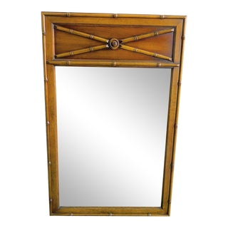 Vintage 60s Faux Bamboo Wooden Stained Mirror