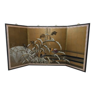 1930s Japanese Mandarin Ducks Gold Leaf Byobu 4-Panel Screen For Sale