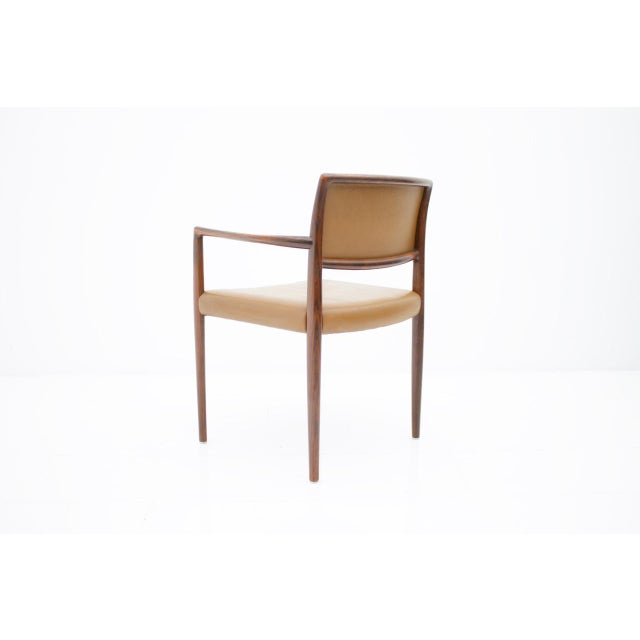 Scandinavian Armchairs in Rosewood and Brown Leather 1960s For Sale - Image 4 of 9