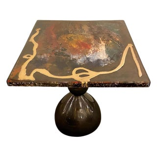 Abstract Design Center or End Table in Resin on Black Epoxy For Sale