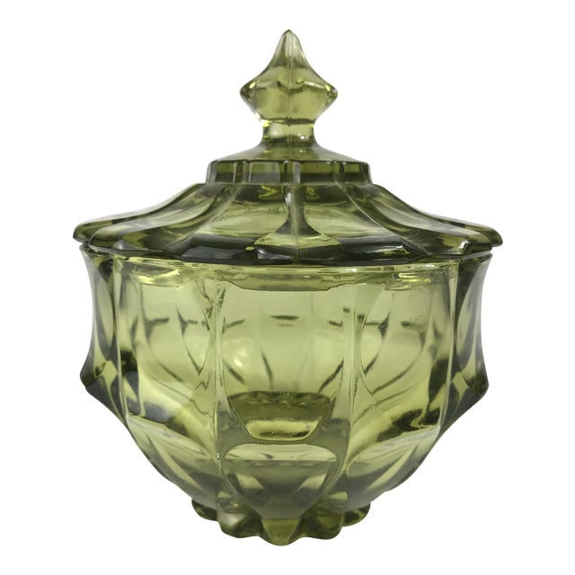 1970s Traditional Fenton Glass Covered Candy Dish For Sale