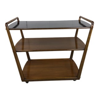 Robsjohn Gibbings Style Mahogany 3-Tier Trolley Cart