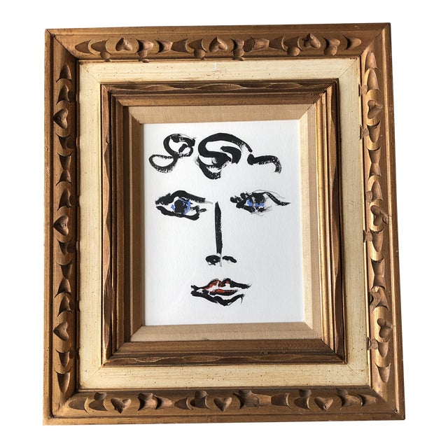Contemporary Original Female Abstract Portrait Painting Vintage Ornate Frame For Sale