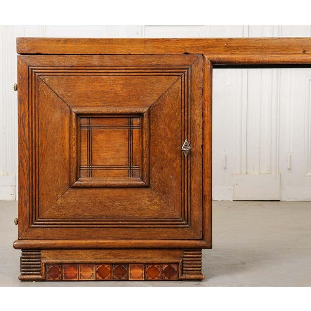 French 20th Century Oak Art Deco Parson Desk For Sale - Image 10 of 12