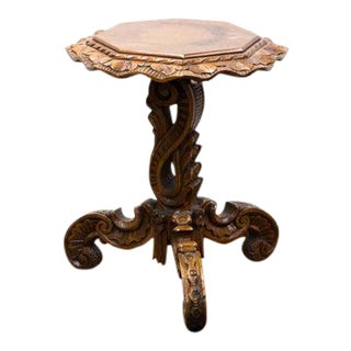 Mid 19th Century Carved Octagonal Tripod Table For Sale