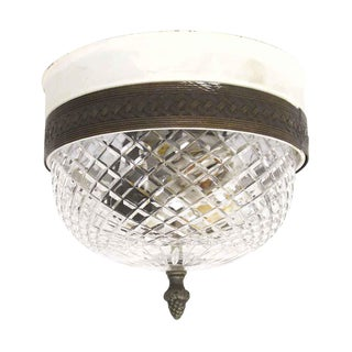 Cut Crystal & Brass Flush Mount Light from the Waldorf Astoria For Sale