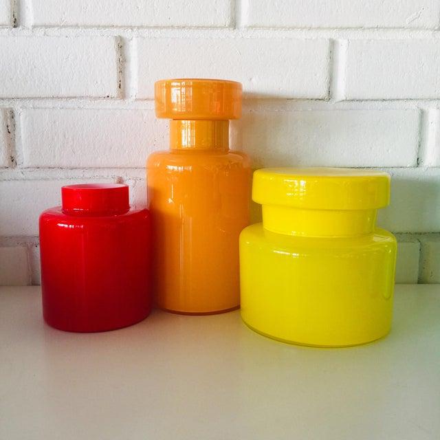 Luciano Vistosi Rainbow Empoli Cased Glass Jars - Set of 7 For Sale - Image 4 of 11