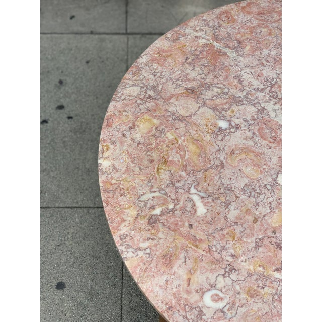 Rose Marble Top With Walnut Base Coffee Table For Sale In Los Angeles - Image 6 of 13