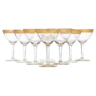 1930s Gilt Rim Tall Glass Stems, Set of 9 For Sale