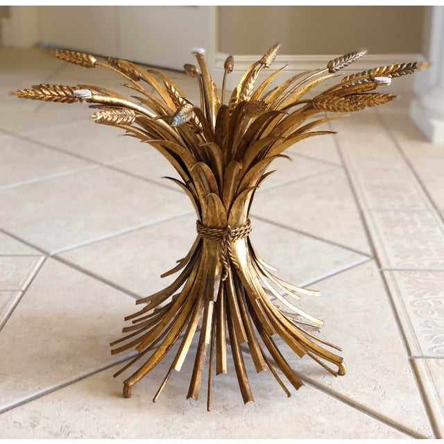 """We are pleased to offer an elegant, Coco Chanel style, """"Sheaf of Wheat"""" coffee table attributed to Maison Baguès, circa..."""