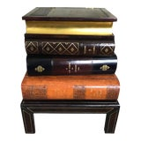 Image of Figurative Maitland Smith Stacked Leather Book Side Table For Sale