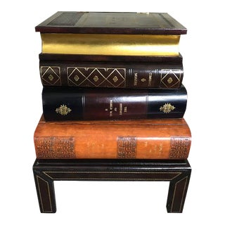 Figurative Maitland Smith Stacked Leather Book Side Table For Sale