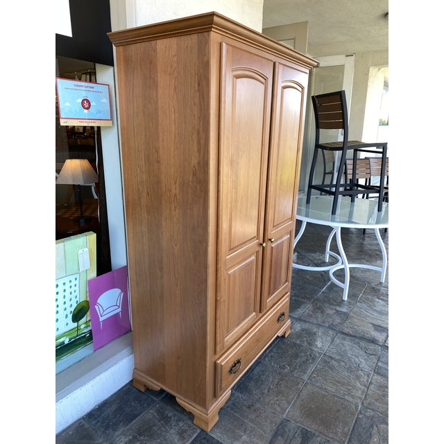 American Amish Cherry Wood Classic Wardrobe Armoire For Sale - Image 3 of 13