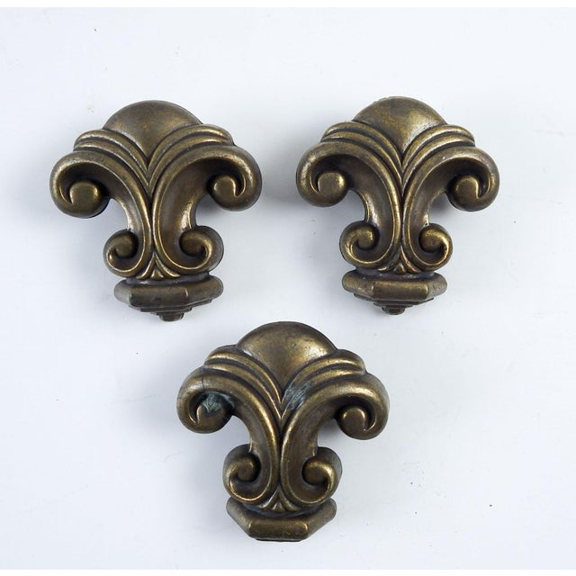 Vintage Heavy Metal Retro Drawer Pulls - Set of 3 For Sale - Image 4 of 4