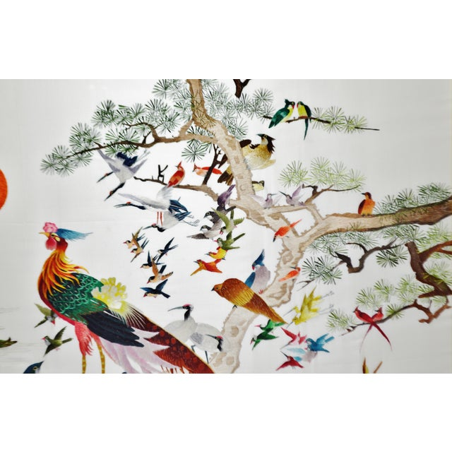 Mid 20th Century Vintage Framed 100 Birds Adore the Phoenix Chinese Silk Embroidery For Sale - Image 5 of 13