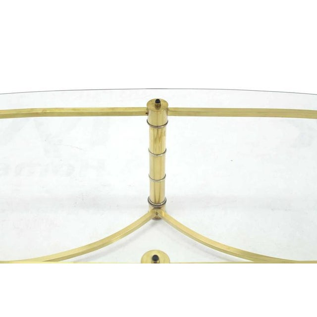 Mid-Century Modern Brass and Glass Oval Coffee Table For Sale - Image 3 of 7