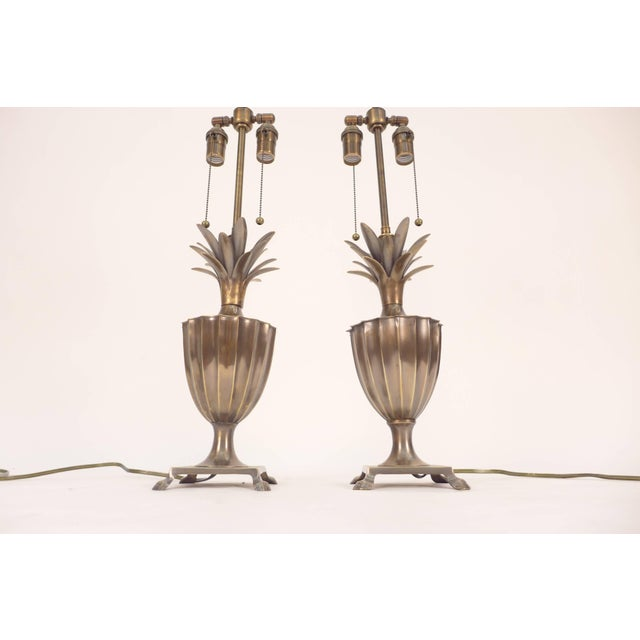 Vintage Hollywood Regency brass pineapple Chapman lamp. Lamps were rewired with double pull chain sockets.