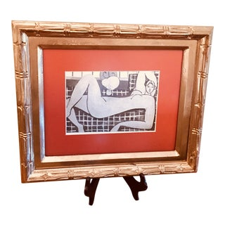 """Framed Print of Sketch for Matisse's """"The Pink Nude"""" With Wooden Stand"""