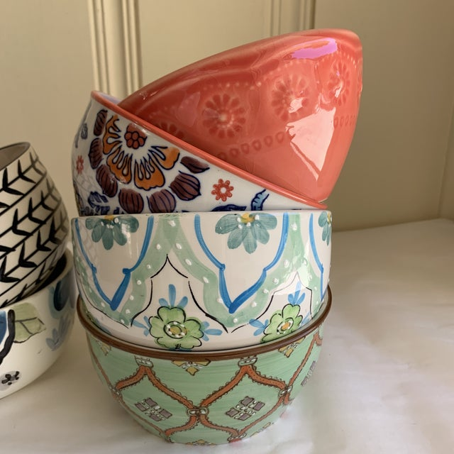 Boho Chic Eclectic Patterned Cottage Farmhouse Bowls, Set of Seven For Sale - Image 3 of 11