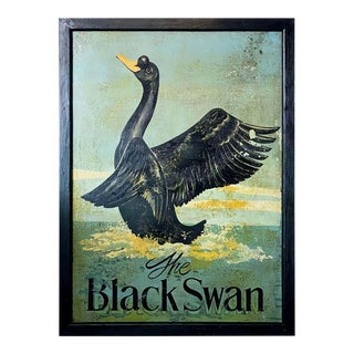 "Vintage English Pub Sign, ""The Black Swan"" For Sale"