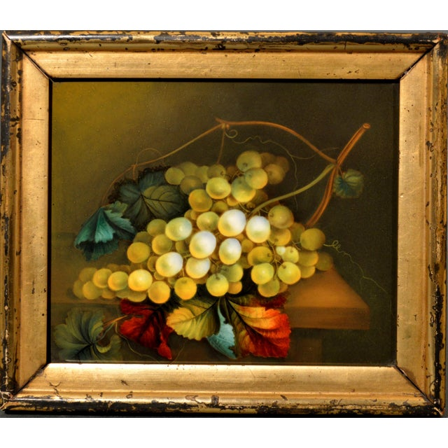 Mid 19th Century English Porcelain Still Life Plaque Depicting Green Grapes on a Tabletop, in the Manner of Thomas Steel, Circa 1830-40 For Sale - Image 5 of 5