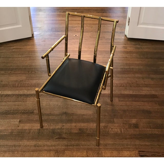 Animal Skin Golden Metal Bamboo & Black Sculpture Chair For Sale - Image 7 of 7