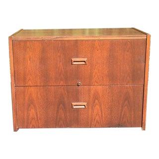 Mid Century Danish Modern Two Drawer Teak Filing Cabinet For Sale