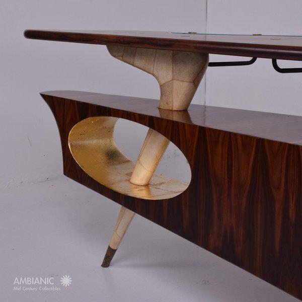 Mid-Century Modern Modernist Rosewood Desk with Mendoza Hardware For Sale - Image 3 of 10