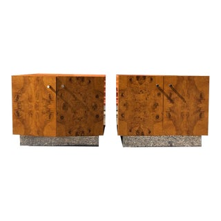 1970s Burl Wood Nightstands Designed by Milo Baughman-a Pair For Sale