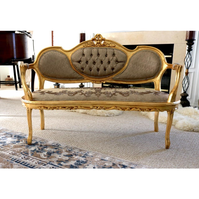 Gold Louis XV Loveseat For Sale - Image 8 of 8