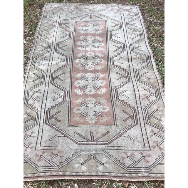 Turkish Hand Knotted Milas Area Rug For Sale - Image 4 of 5