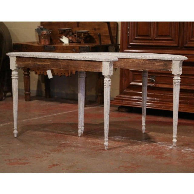 19th Century French Louis XVI Carved Painted Demilune Console Tables-a Pair For Sale - Image 10 of 11