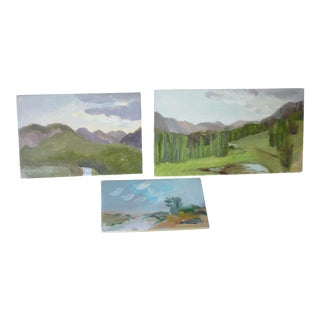 Late 20th Century Susan Scott Oil Sketch Paintings - Set of 3 For Sale