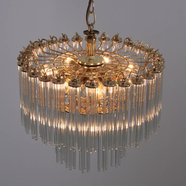 Two-Tier Glass and Brass Chandelier in the Manner of Venini For Sale - Image 6 of 7